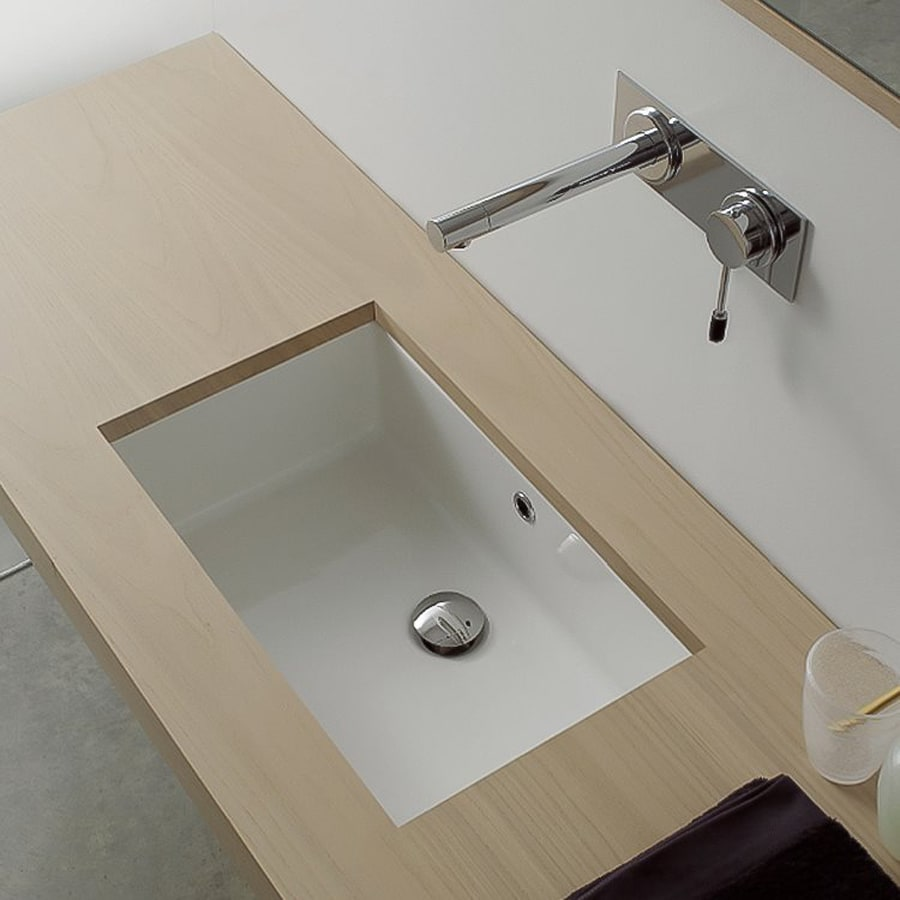 Nameeks Scarabeo White Rectangular Bathroom Sink with Overflow