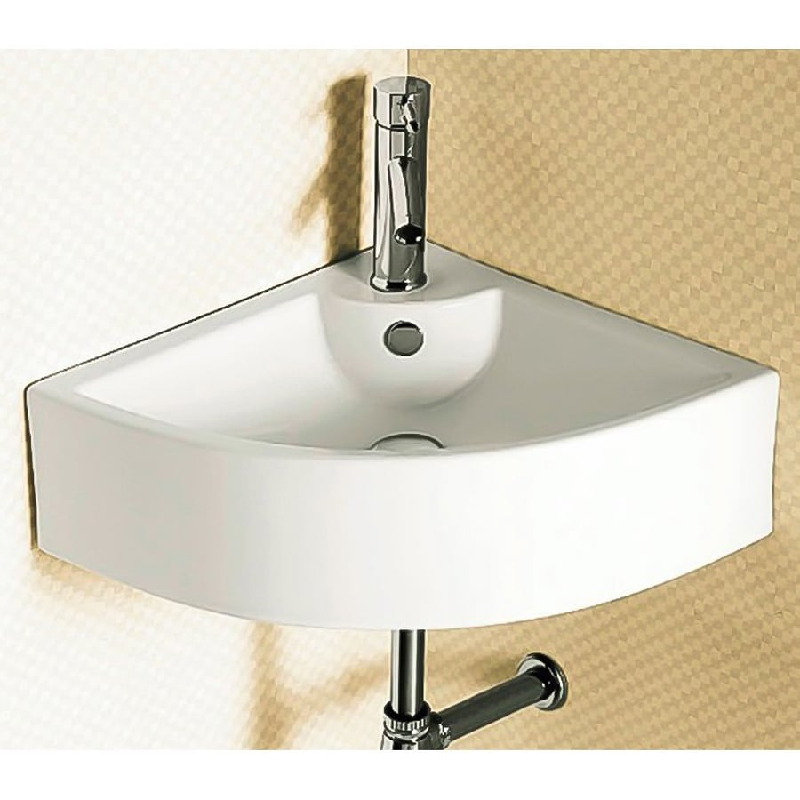 Nameeks Ceramica White Ceramic Wall-Mount Semi-Circle Bathroom Sink with Overflow