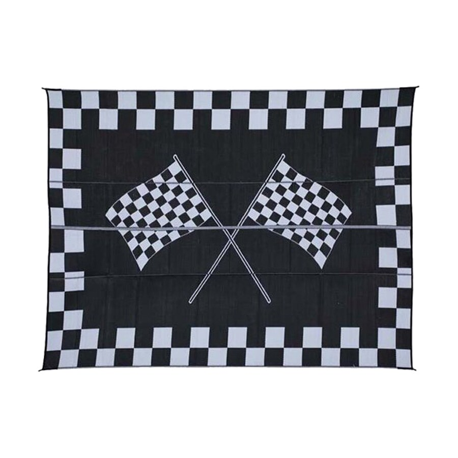 Patio Mats Racing Rectangular Black With Checkerboard Border Sports Indoor Outdoor Woven Polypropylene Area Rug