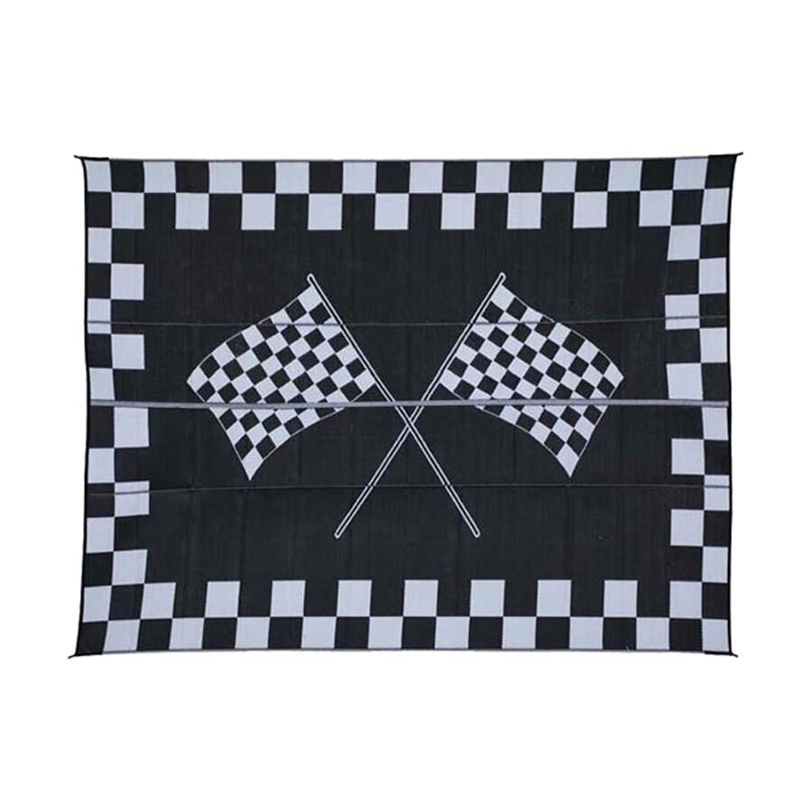 Patio Mats Racing Rectangular Black With Checkerboard Border Sports  Indoor/Outdoor Woven Polypropylene Area Rug