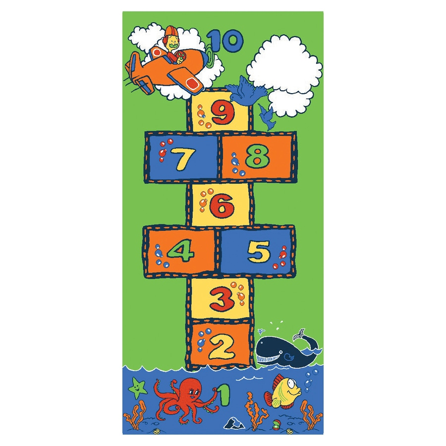 Learning Carpets Play Carpets Rectangular Indoor/Outdoor Tufted Educational Area Rug (Common: 3 x 6; Actual: 3-ft W x 6.5-ft L)