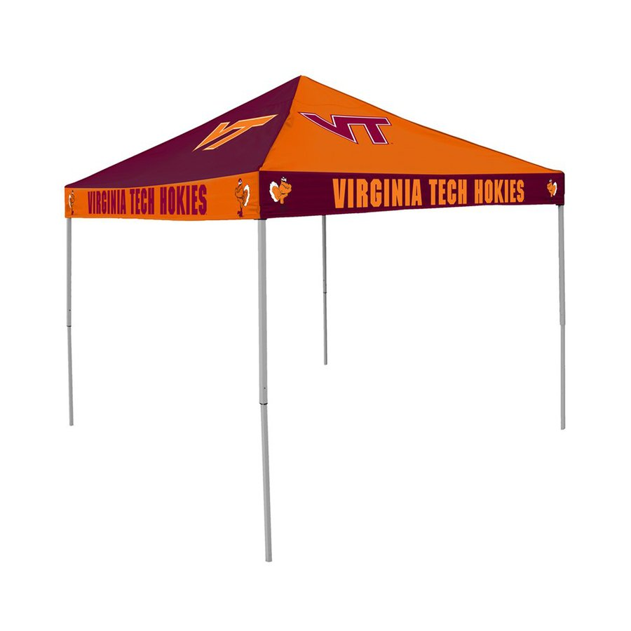 Logo Chairs Checkerboard 9-ft W x 9-ft L Square NCAA Virginia Tech University Hokies Steel Pop-Up Canopy