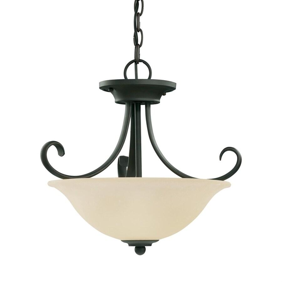 Sea Gull Lighting Del Prato 16-in Chestnut Bronze Mediterranean Single Etched Glass Bowl Pendant
