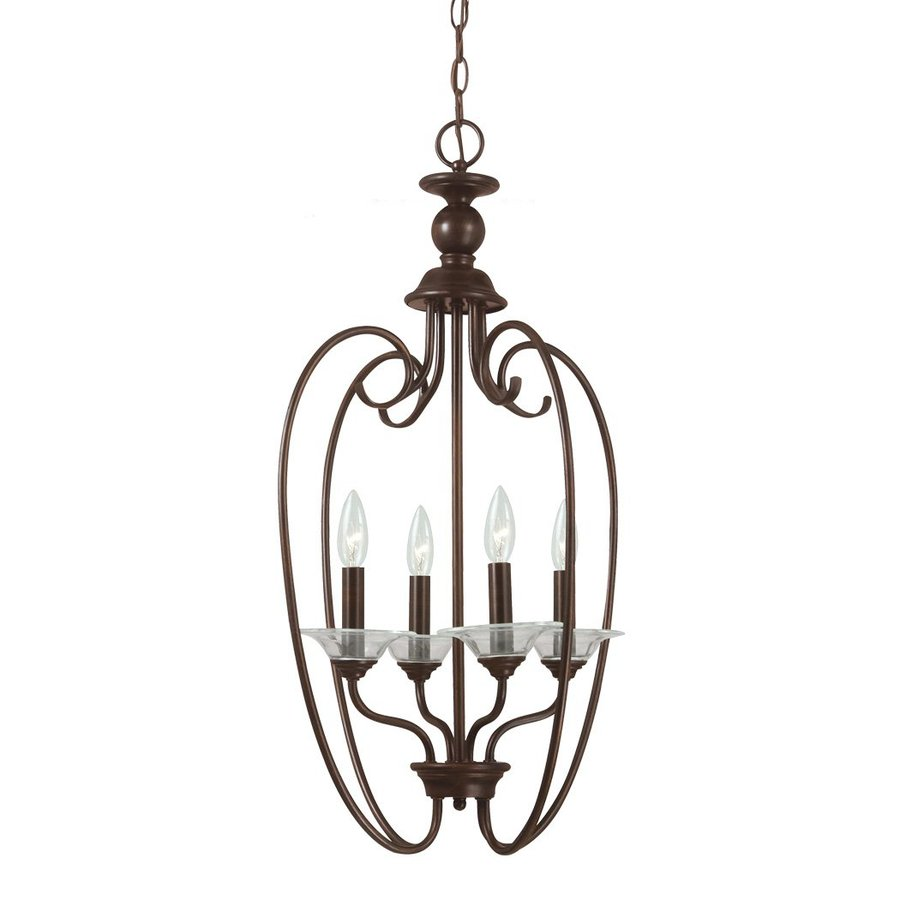 Sea Gull Lighting Lemont 16-in 4-Light Burnt Sienna Vintage Hardwired Candle Chandelier