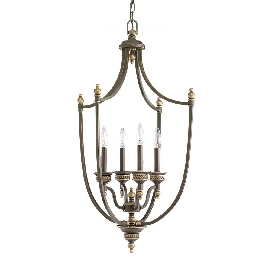 Sea Gull Lighting Laurel Leaf 19-in 4-Light Estate Bronze Vintage Hardwired Candle Chandelier