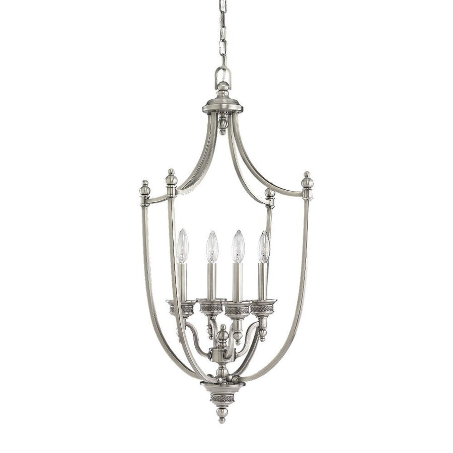 Sea Gull Lighting Laurel Leaf 19-in 4-Light Antique Brushed Nickel Vintage Hardwired Candle Chandelier