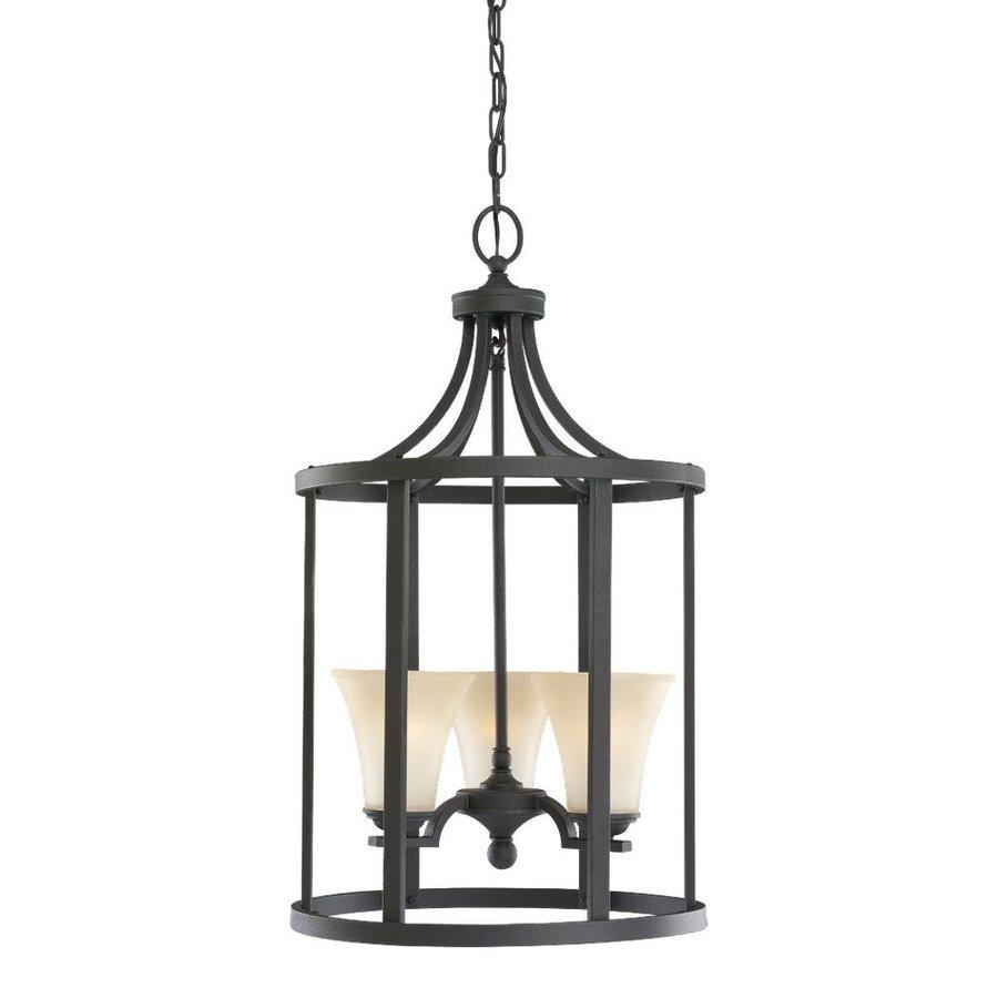 Sea Gull Lighting Somerton 16-in Blacksmith Wrought Iron Hardwired Single Tinted Glass Lantern Pendant