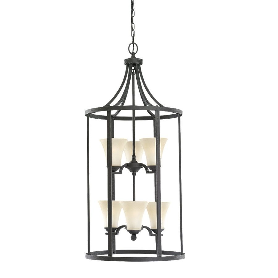 Sea Gull Lighting Somerton 19-in Blacksmith Wrought Iron Hardwired Single Tinted Glass Cage Pendant