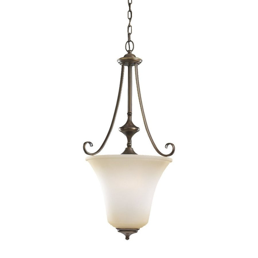 Sea Gull Lighting Parkview 17.5-in Russet Bronze Mediterranean Hardwired Single Tinted Glass Urn Pendant
