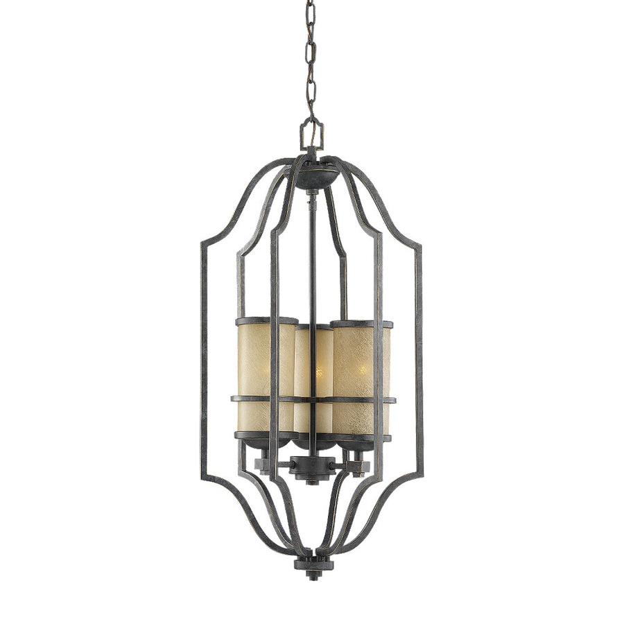 Sea Gull Lighting Roslyn 15.75-in Flemish Bronze Mediterranean Hardwired Single Tinted Glass Cage Pendant