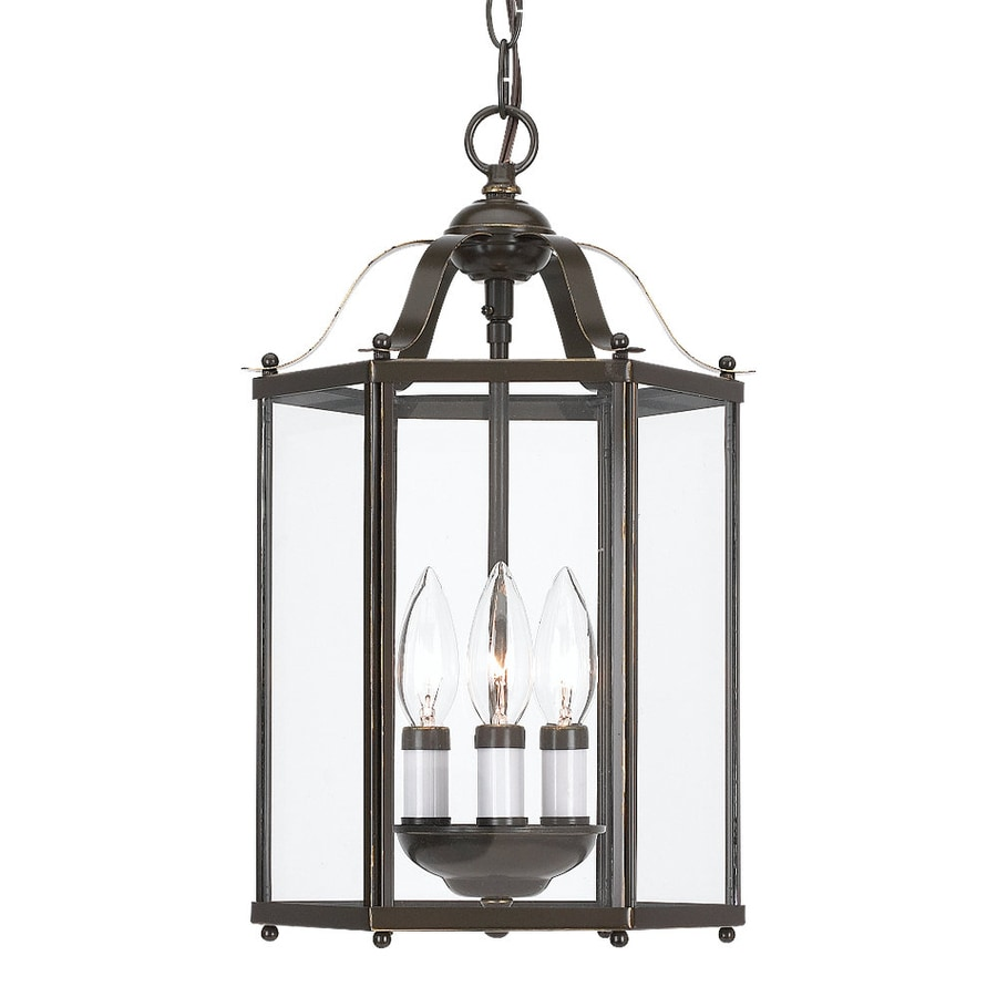 Sea Gull Lighting Bretton 9.5-in Heirloom Bronze Vintage Hardwired Mini Clear Glass Lantern Pendant