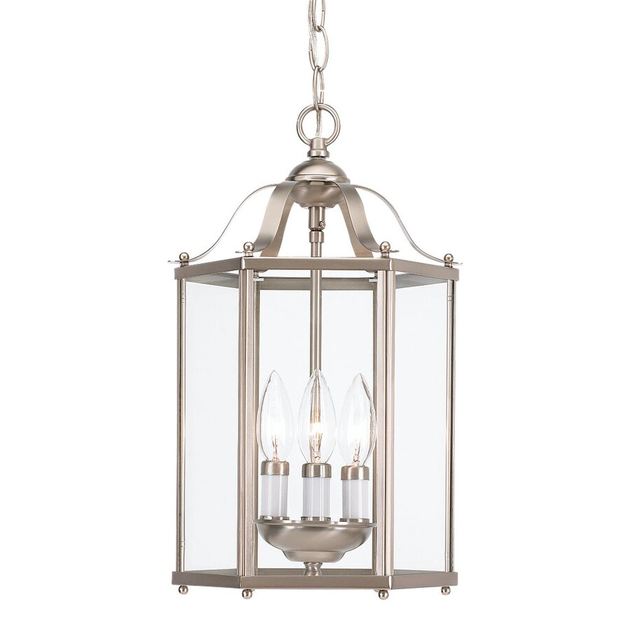 Sea Gull Lighting Bretton 9.5 In Brushed Nickel Vintage Hardwired Mini  Clear Glass Lantern Pendant