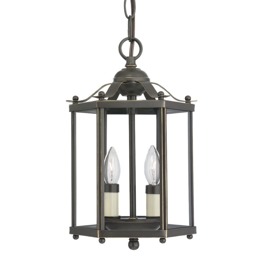 Sea Gull Lighting Bretton 7.25-in Heirloom Bronze Vintage Hardwired Mini Clear Glass Lantern Pendant