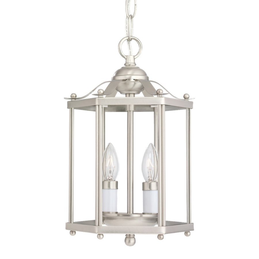 Sea Gull Lighting Bretton 7.25-in Brushed Nickel Country Cottage Hardwired Mini Clear Glass Lantern Pendant