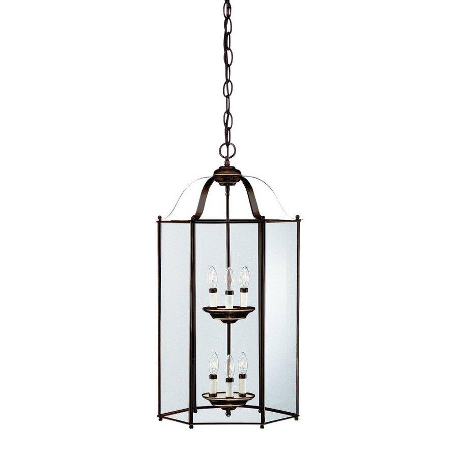 Sea Gull Lighting Bretton 16-in Heirloom Bronze Hardwired Single Clear Glass Lantern Pendant
