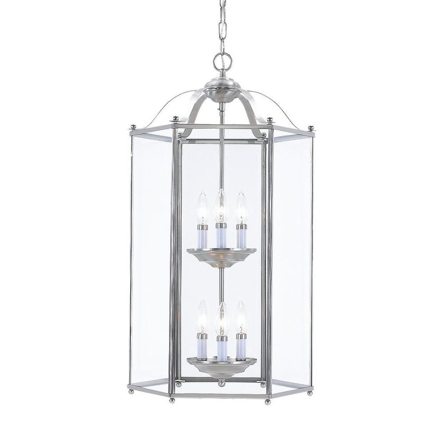 Sea Gull Lighting Bretton 16-in Brushed Nickel Single Clear Glass Lantern Pendant