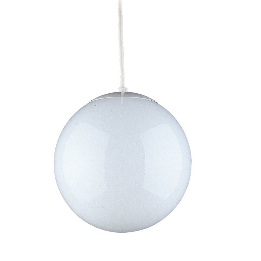Sea Gull Lighting Hanging Globe 12-in White Industrial Hardwired Single Globe Pendant