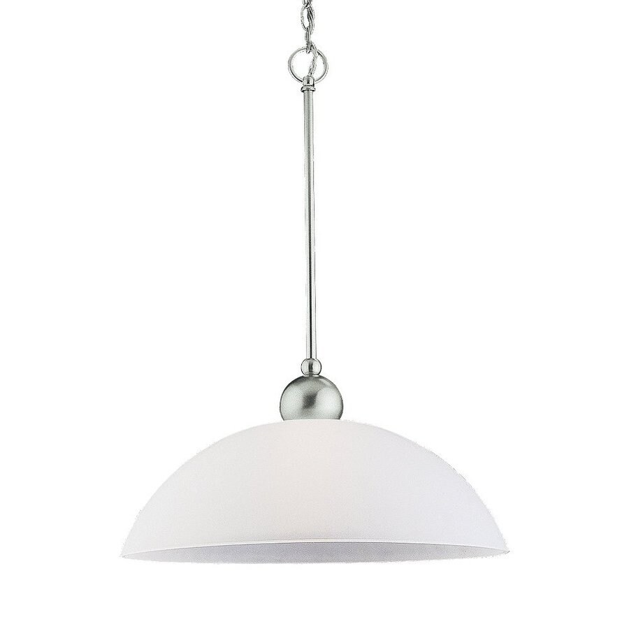 Sea Gull Lighting Metropolis 18-in Brushed Nickel Hardwired Single Etched Glass Bowl Pendant