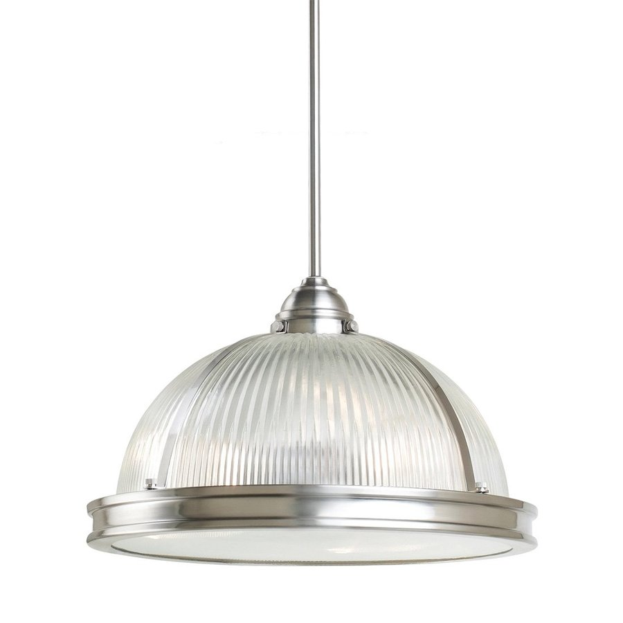 Sea Gull Lighting Pratt Street 16.25-in Brushed Nickel Industrial Single Ribbed Glass Warehouse Pendant