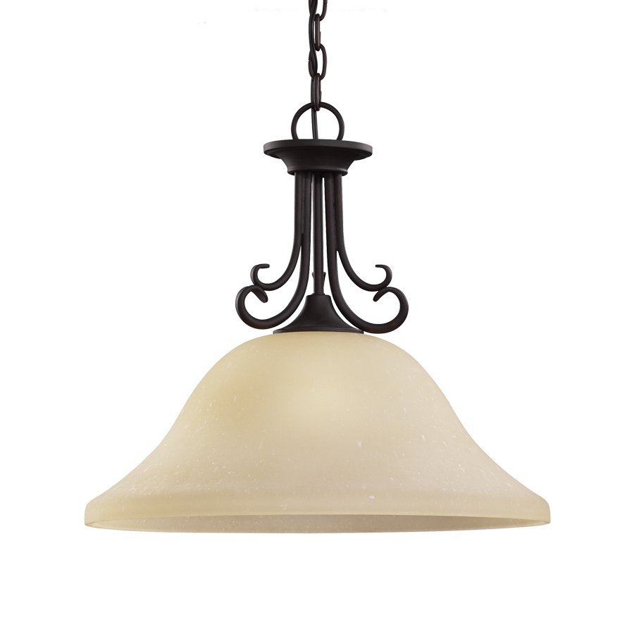 Sea Gull Lighting Del Prato 18-in Chestnut Bronze Mediterranean Single Etched Glass Bell Pendant