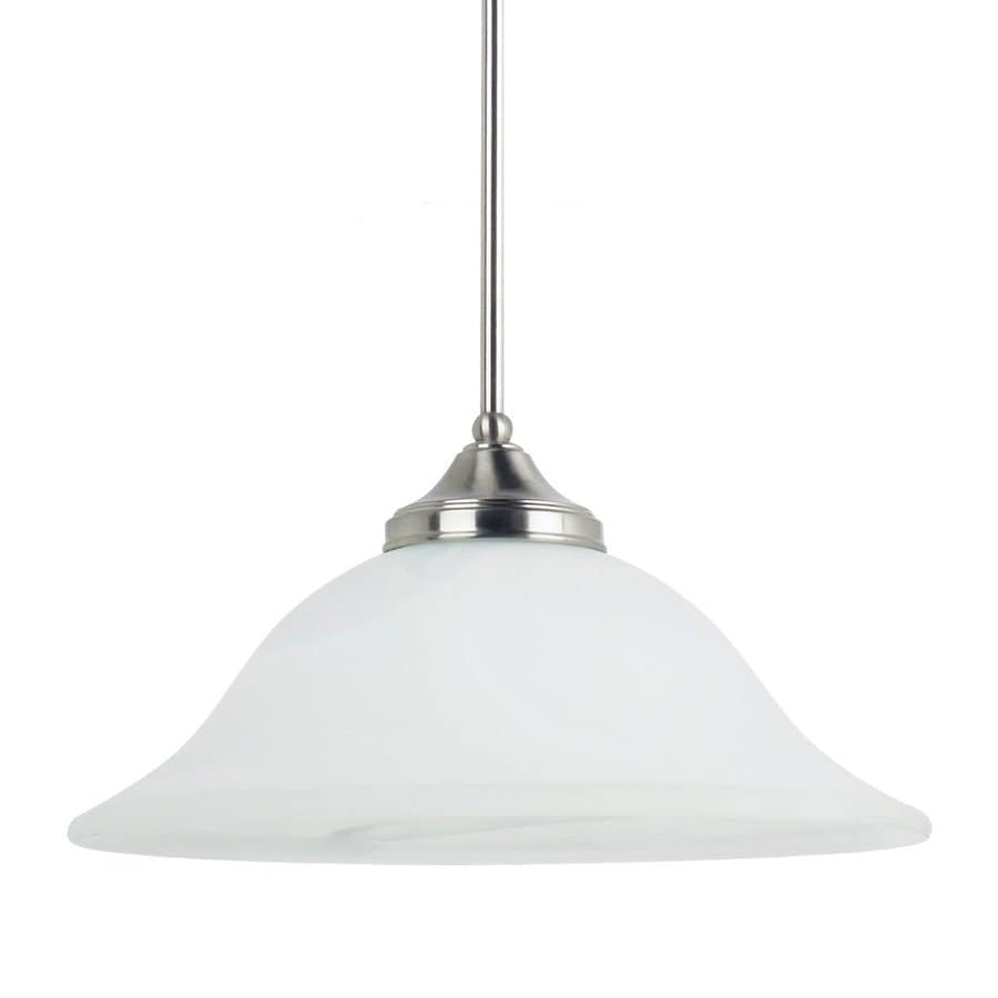 Sea Gull Lighting Brockton 16-in Brushed Nickel Hardwired Single Alabaster Glass Bell Pendant