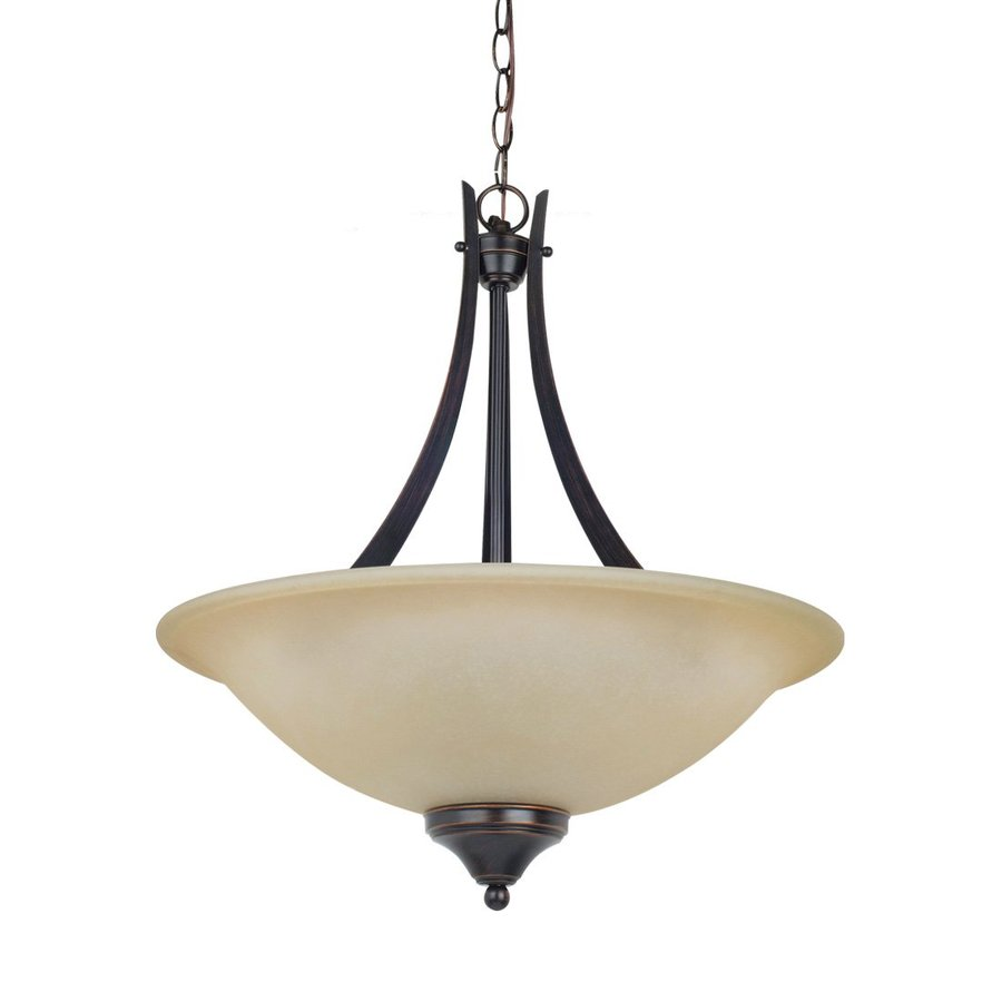 Sea Gull Lighting Brockton 20-in Burnt Sienna Hardwired Single Tinted Glass Bowl Pendant