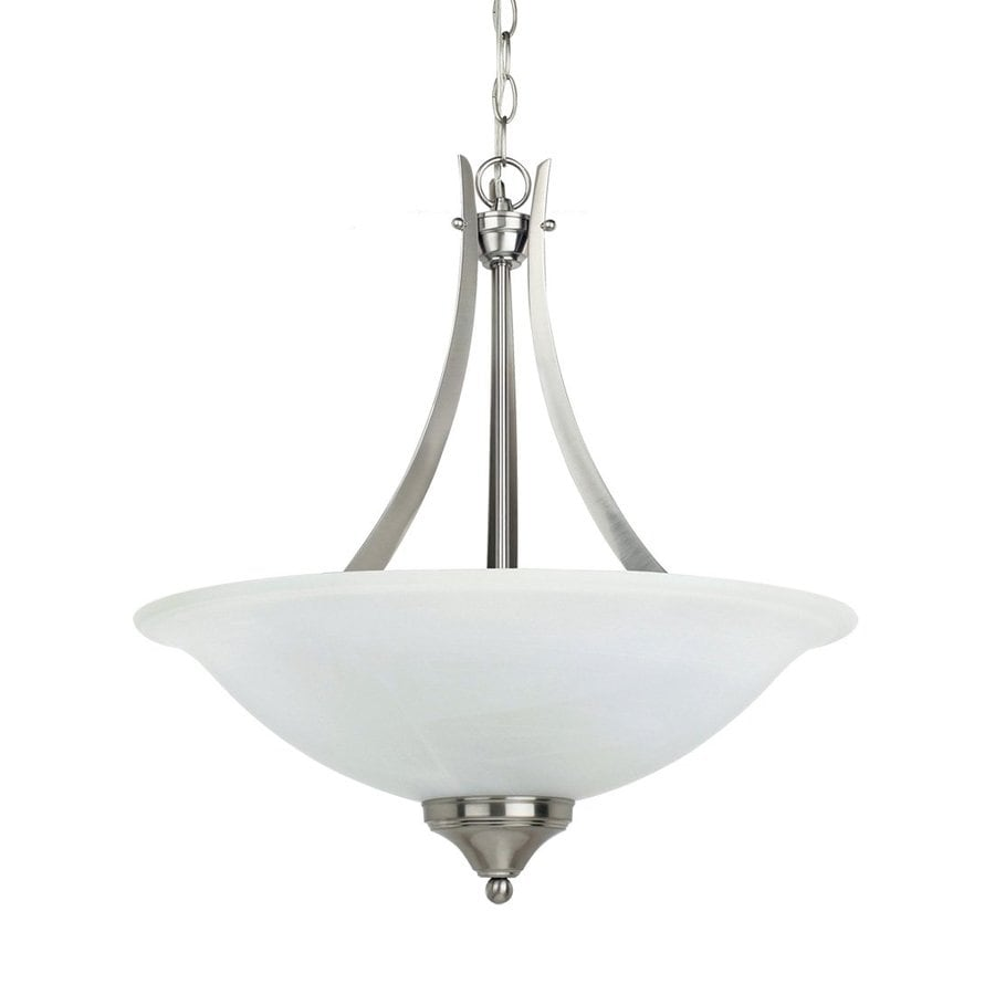 Sea Gull Lighting Brockton 20-in Brushed Nickel Hardwired Single Alabaster Glass Bowl Pendant