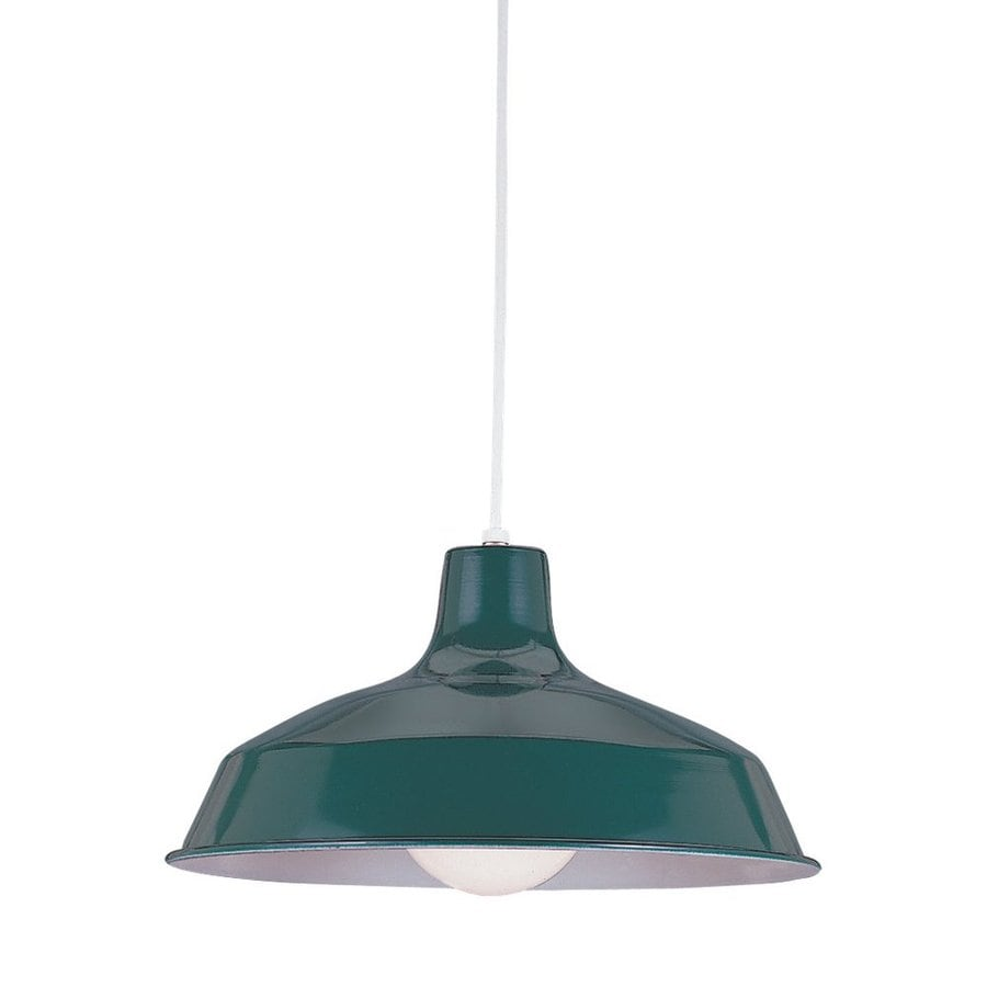 Sea Gull Lighting Painted Shade 16-in Emerald Green Industrial Hardwired Single Warehouse Pendant