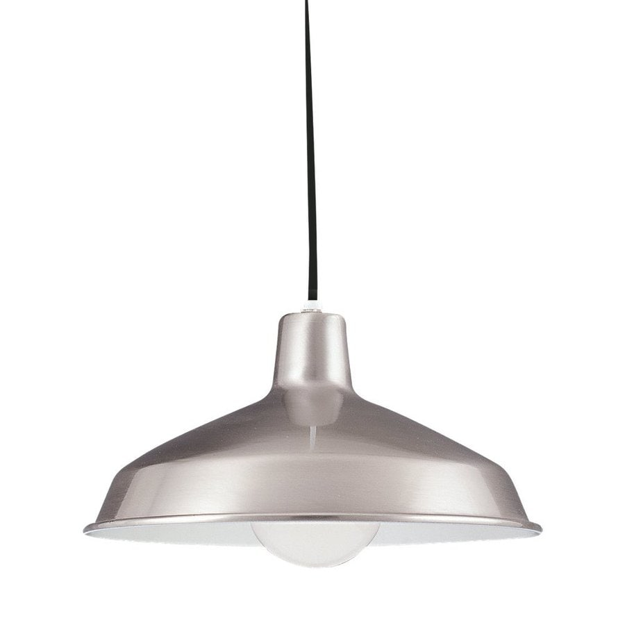 Sea Gull Lighting Painted Shade 16-in Brushed Stainless Industrial Hardwired Single Warehouse Pendant