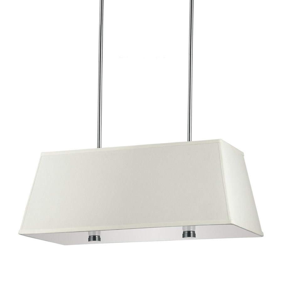 Sea Gull Lighting Dayna Shade 36-in W 4-Light Brushed Nickel Kitchen Island Light with Fabric Shade