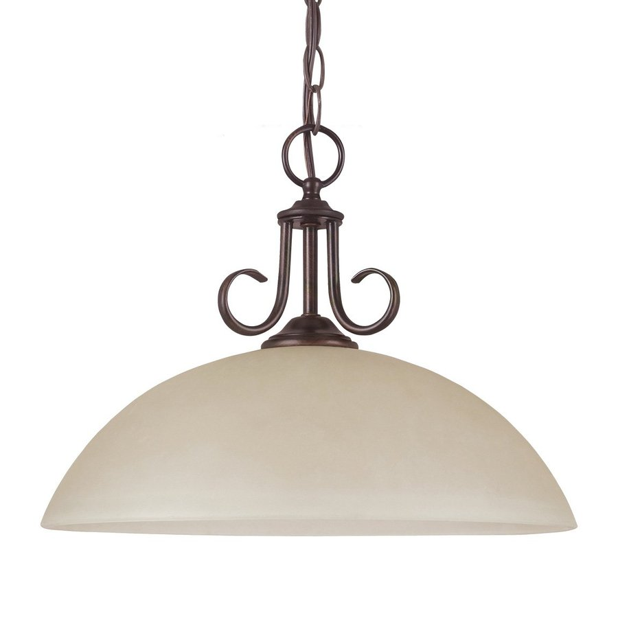 Sea Gull Lighting Lemont 15.75-in Burnt Sienna Mediterranean Hardwired Single Tinted Glass Dome Pendant