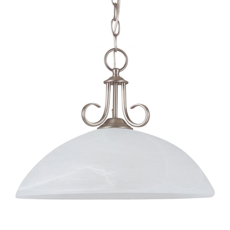Sea Gull Lighting Lemont 15.75-in Antique Brushed Nickel Hardwired Single Alabaster Glass Dome Pendant