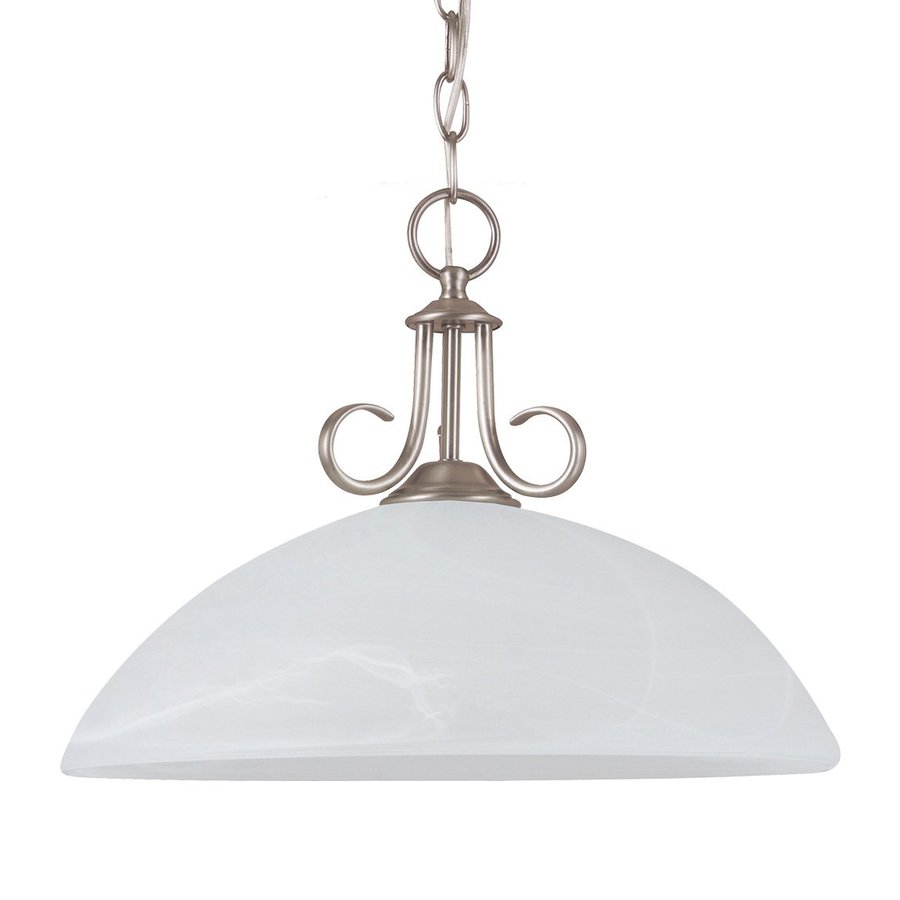 Sea Gull Lighting Lemont 15.75-in Antique Brushed Nickel Single Alabaster Glass Dome Pendant