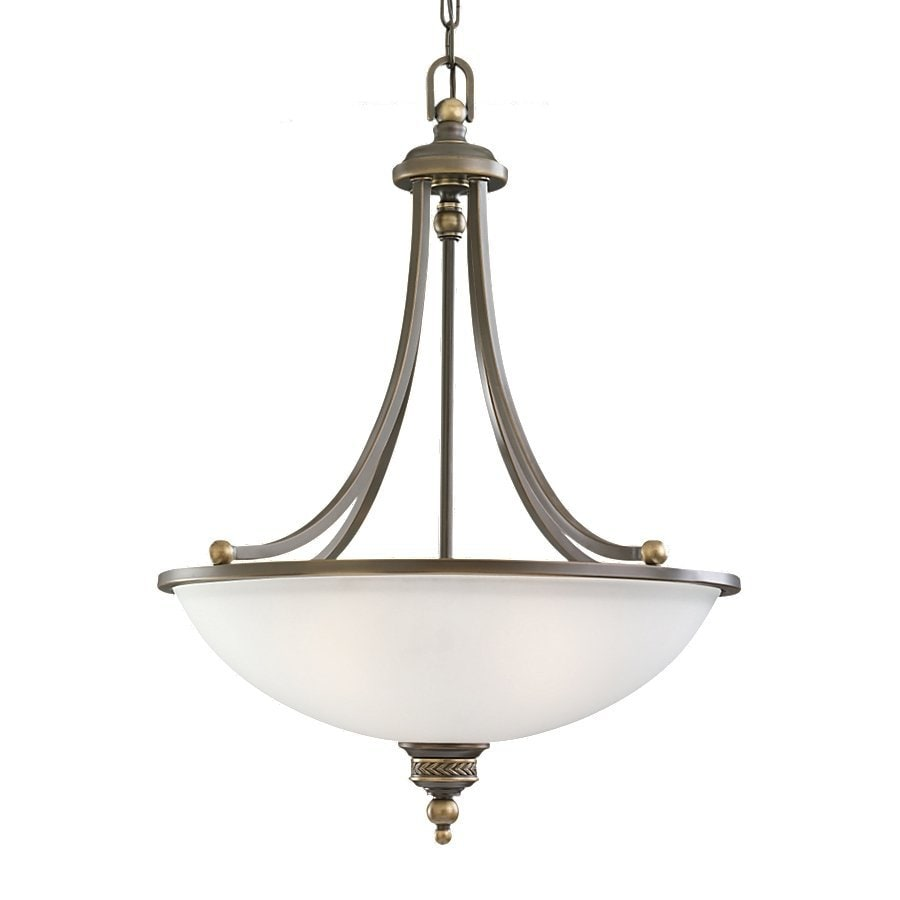 Sea Gull Lighting Laurel Leaf 19.5-in Estate Bronze Vintage Single Etched Glass Bowl Pendant