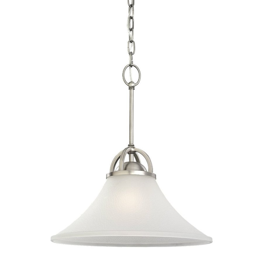 Sea Gull Lighting Somerton 16-in Antique Brushed Nickel Single Etched Glass Bell Pendant