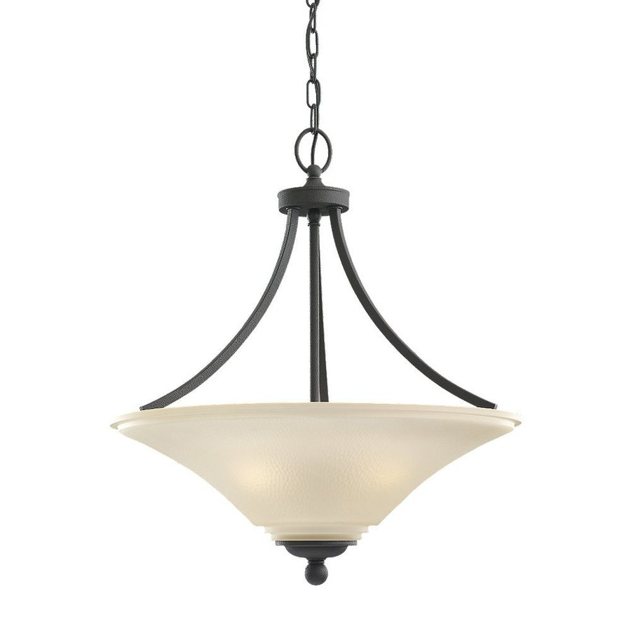 Sea Gull Lighting Somerton 20.5-in Blacksmith Single Tinted Glass Bowl Pendant