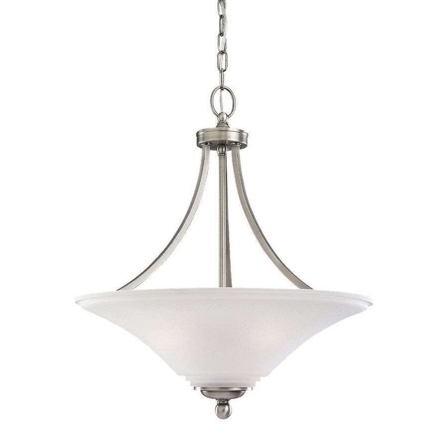 Sea Gull Lighting Somerton 20.5-in Antique Brushed Nickel Hardwired Single Etched Glass Bowl Pendant