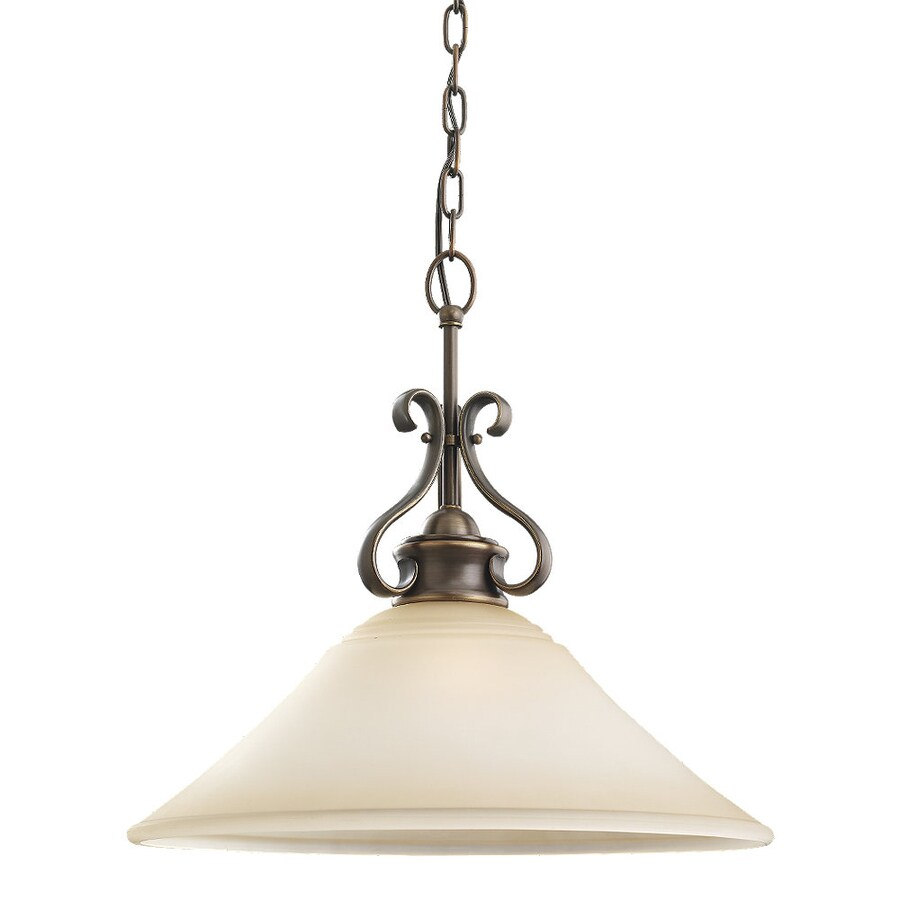 Sea Gull Lighting Parkview 19-in Russet Bronze Mediterranean Single Tinted Glass Bell Pendant
