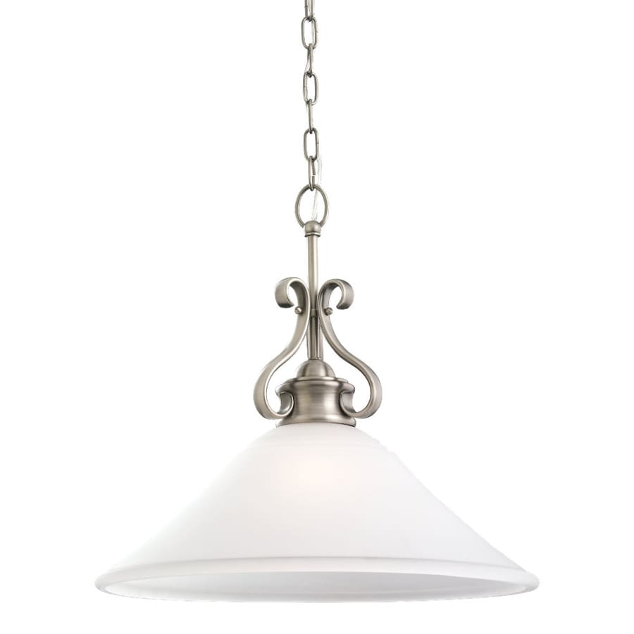 Sea Gull Lighting Parkview 19-in Antique Brushed Nickel Vintage Hardwired Single Etched Glass Bell Pendant