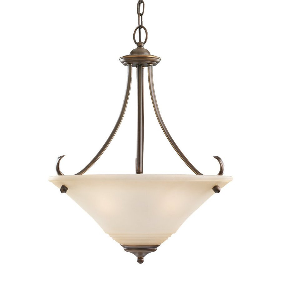 Sea Gull Lighting Parkview 20-in Russet Bronze Hardwired Single Tinted Glass Bowl Pendant