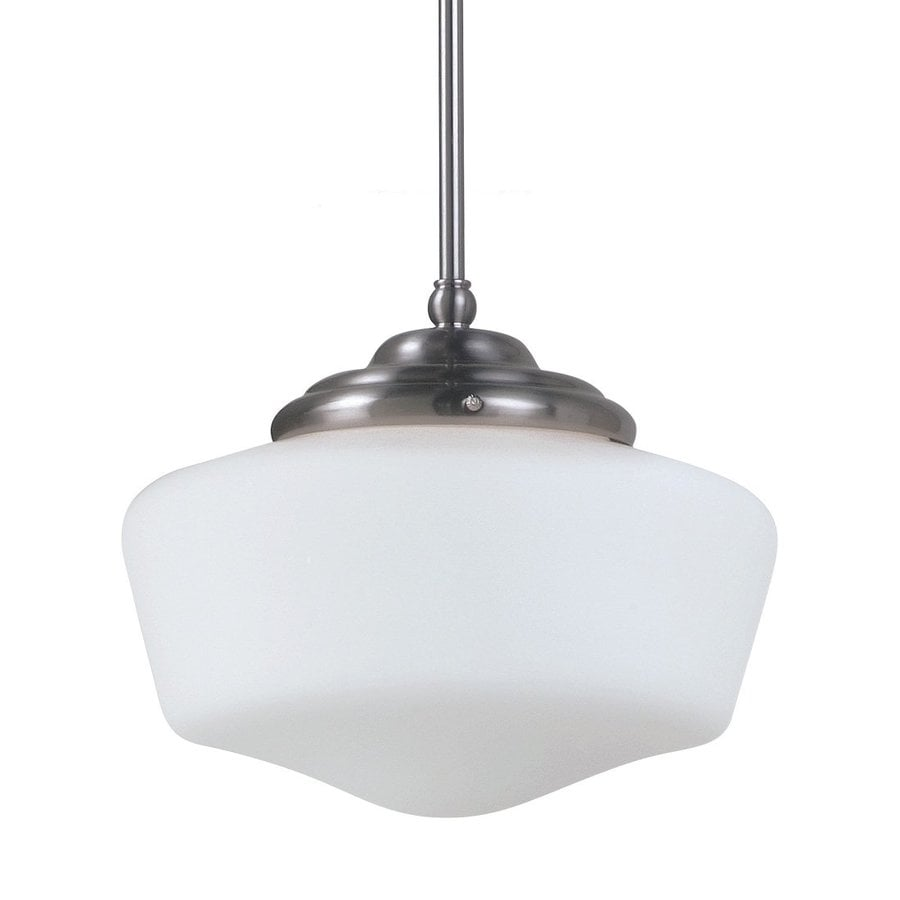 Sea Gull Lighting Academy 13-in Brushed Nickel Vintage Single Schoolhouse Pendant