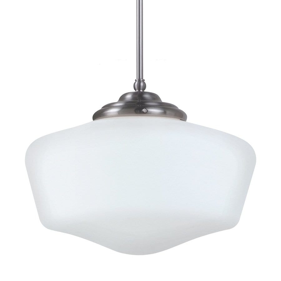 Sea Gull Lighting Academy 17-in Brushed Nickel Vintage Single Schoolhouse Pendant