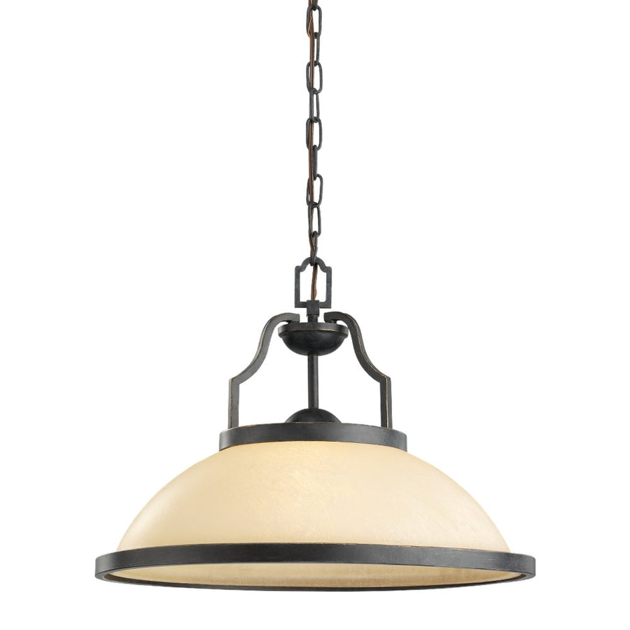 Sea Gull Lighting Roslyn 18.5-in Flemish Bronze Mediterranean Hardwired Single Tinted Glass Dome Pendant