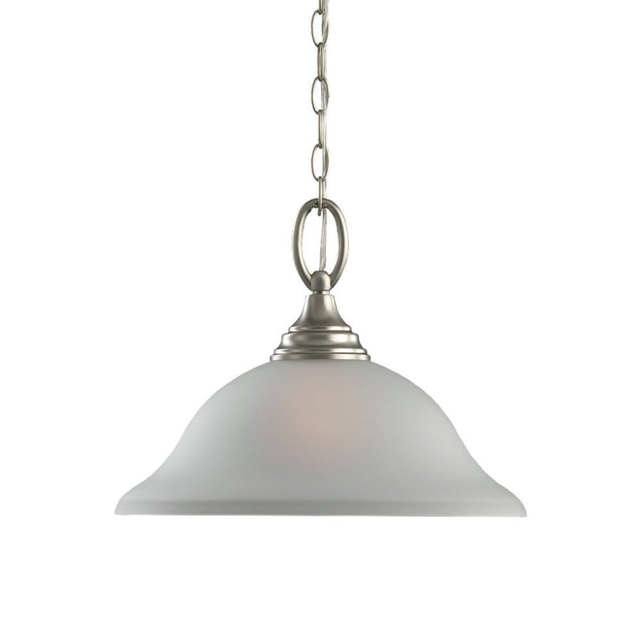 Sea Gull Lighting Wheaton 15.25-in Brushed Nickel Single Etched Glass Bell Pendant