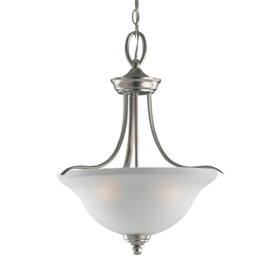 Sea Gull Lighting Wheaton 16.75-in Brushed Nickel Hardwired Single Etched Glass Bowl Pendant