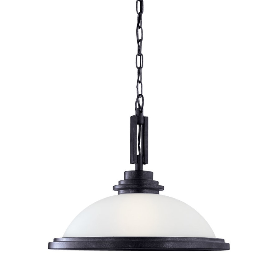 Sea Gull Lighting Winnetka 16.75-in Blacksmith Industrial Hardwired Single Etched Glass Dome Pendant