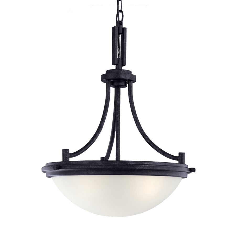 Sea Gull Lighting Winnetka 18-in Blacksmith Industrial Single Etched Glass Bowl Pendant
