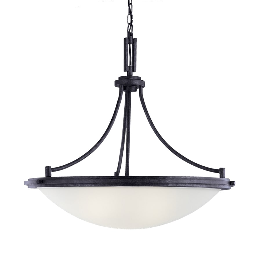 Sea Gull Lighting Winnetka 28.25-in Blacksmith Industrial Single Etched Glass Bowl Pendant