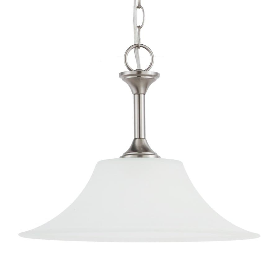Sea Gull Lighting Holman 15-in Brushed Nickel Hardwired Single Etched Glass Bell Pendant