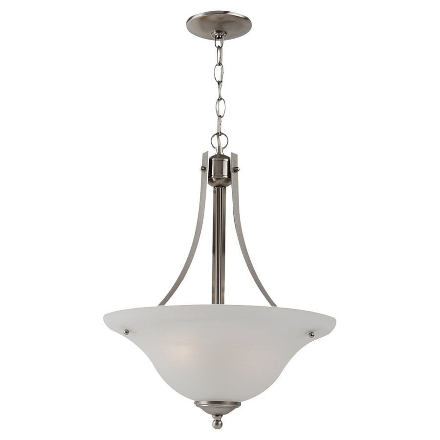 Sea Gull Lighting Windgate 15.75-in Brushed Nickel Hardwired Single Alabaster Glass Bowl Pendant